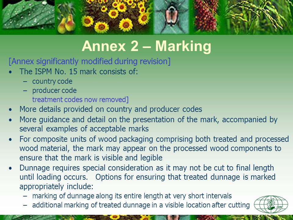 Annex 2 – Marking [Annex significantly modified during revision]